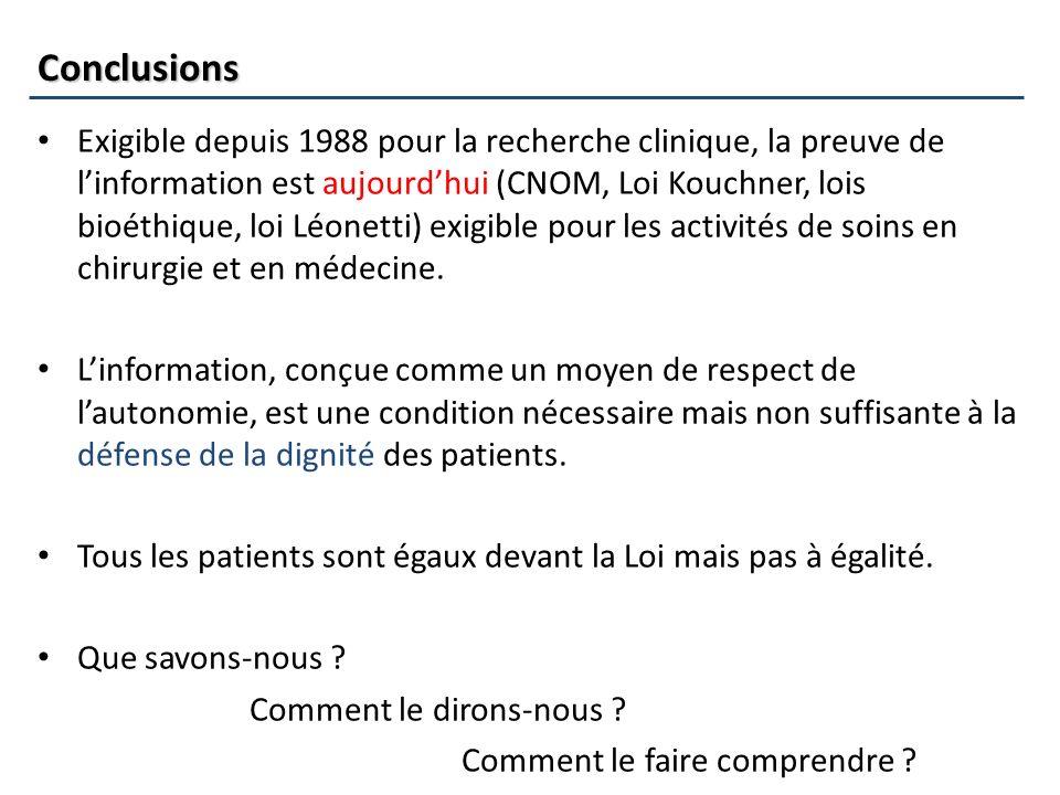 Conclusions Exigible depuis 1988 pour la recherche clinique, la preuve de linformation est aujourdhui (CNOM, Loi Kouchner, lois bioéthique, loi Léonet