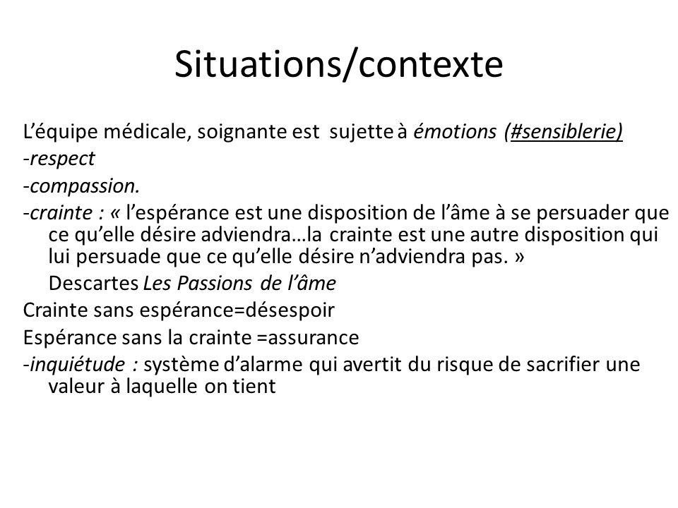 Situations/contexte Léquipe médicale, soignante est sujette à émotions (#sensiblerie) -respect -compassion. -crainte : « lespérance est une dispositio
