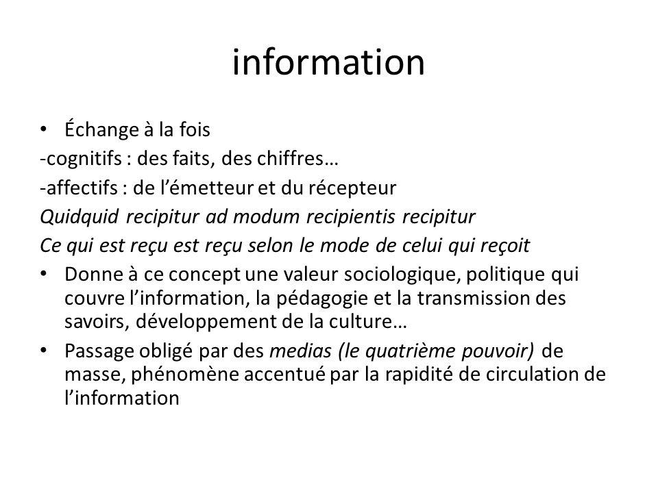 information Échange à la fois -cognitifs : des faits, des chiffres… -affectifs : de lémetteur et du récepteur Quidquid recipitur ad modum recipientis