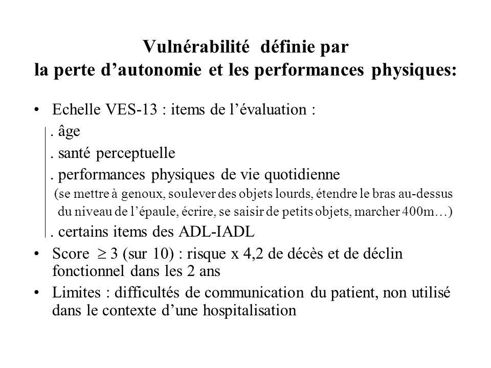 Vulnérabilité définie par la perte dautonomie et les performances physiques: Echelle VES-13 : items de lévaluation :. âge. santé perceptuelle. perform
