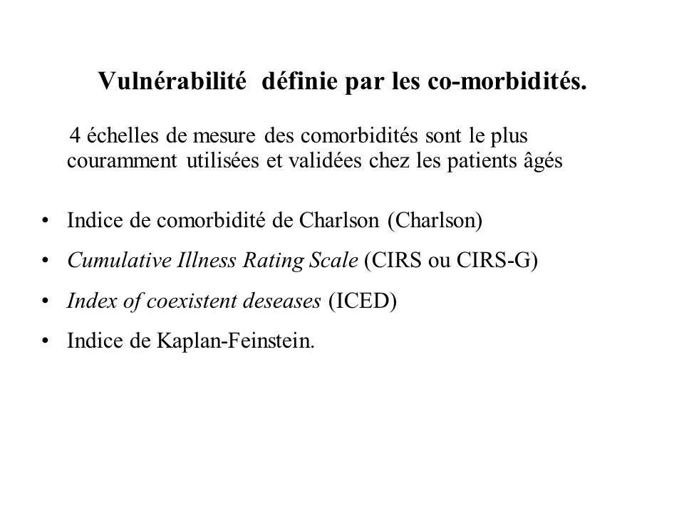 Vulnérabilité définie par les co-morbidités. 4 échelles de mesure des comorbidités sont le plus couramment utilisées et validées chez les patients âgé