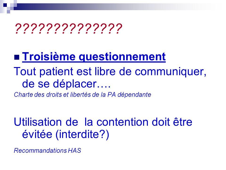 ?????????????. Troisième questionnement Tout patient est libre de communiquer, de se déplacer….