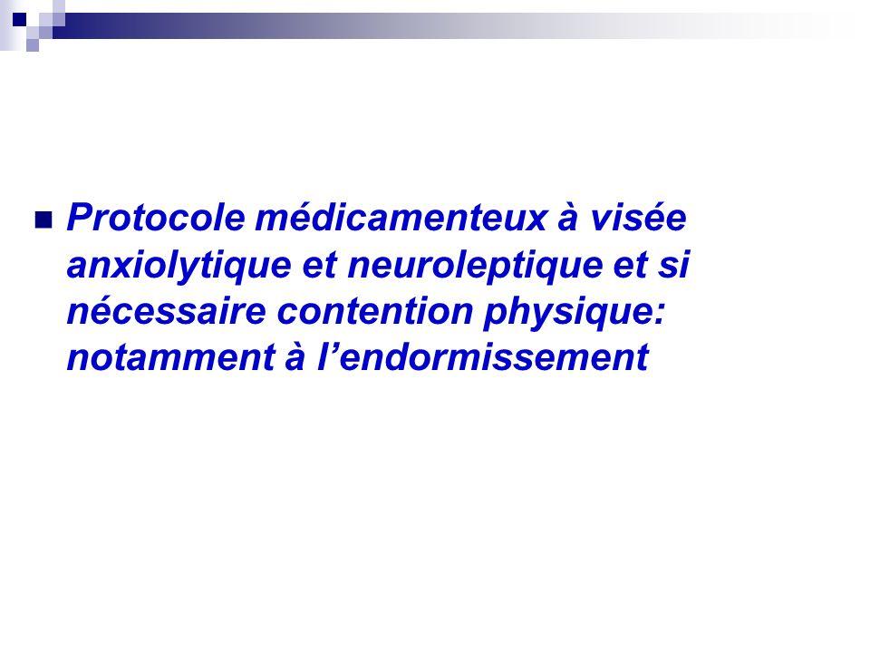 Protocole médicamenteux à visée anxiolytique et neuroleptique et si nécessaire contention physique: notamment à lendormissement