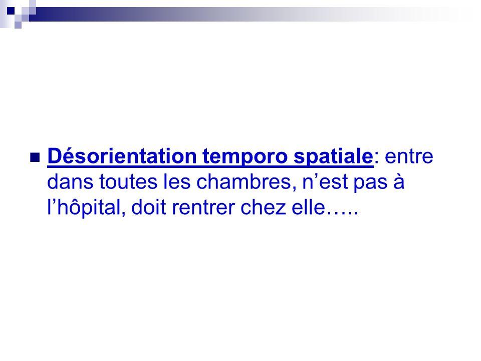 Désorientation temporo spatiale: entre dans toutes les chambres, nest pas à lhôpital, doit rentrer chez elle…..