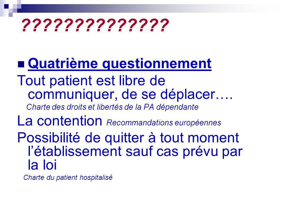 ?????????????. Quatrième questionnement Tout patient est libre de communiquer, de se déplacer….
