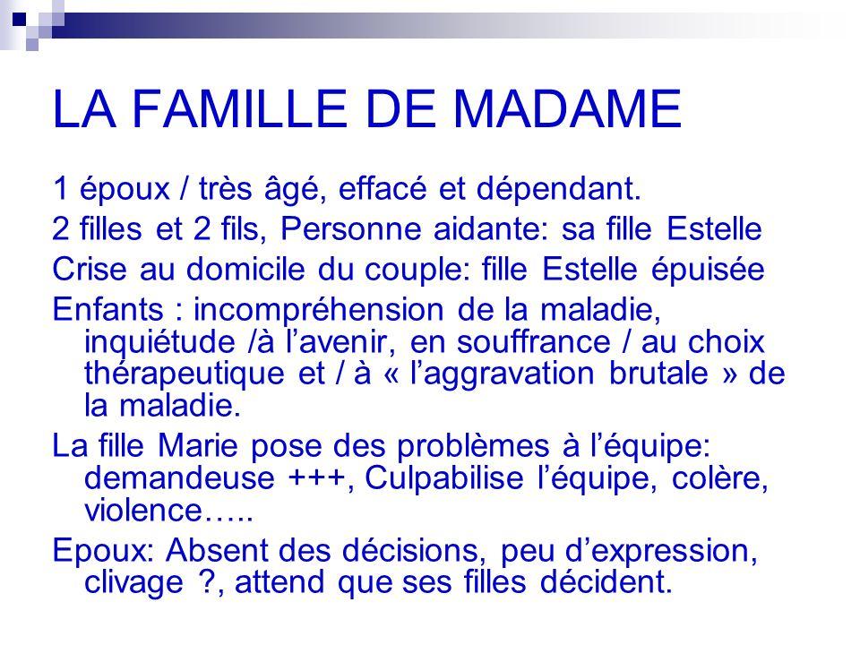 LA FAMILLE DE MADAME 1 époux / très âgé, effacé et dépendant.