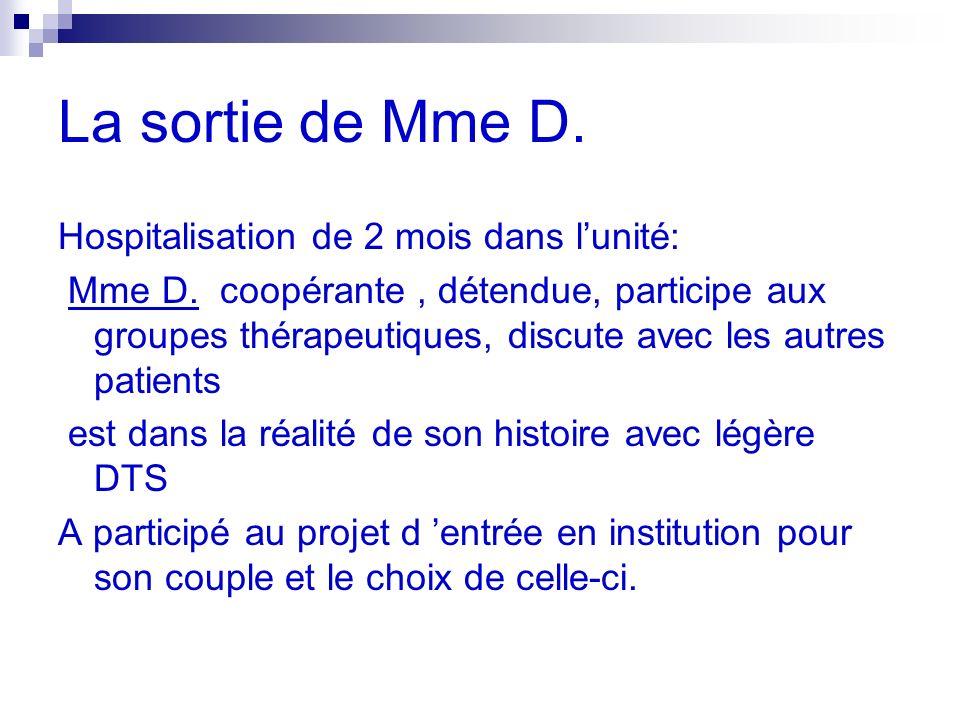 La sortie de Mme D. Hospitalisation de 2 mois dans lunité: Mme D.