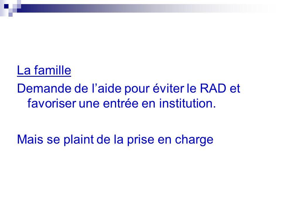 La famille Demande de laide pour éviter le RAD et favoriser une entrée en institution.