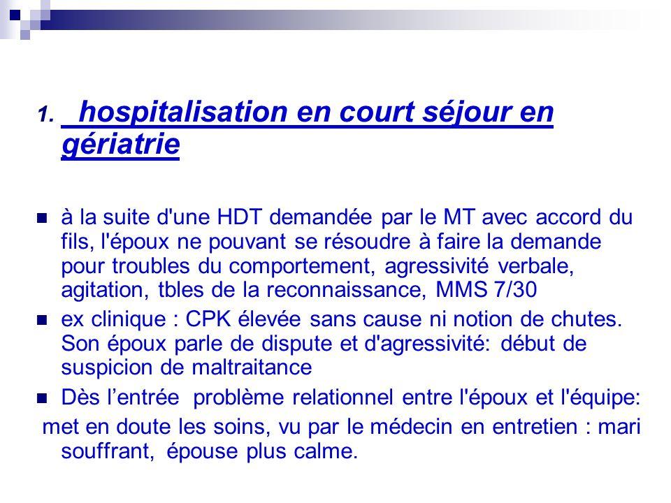 1. hospitalisation en court séjour en gériatrie à la suite d'une HDT demandée par le MT avec accord du fils, l'époux ne pouvant se résoudre à faire la