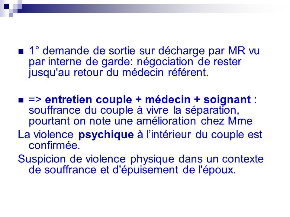 1° demande de sortie sur décharge par MR vu par interne de garde: négociation de rester jusqu au retour du médecin référent.