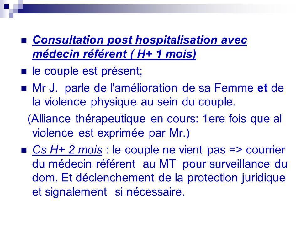 Consultation post hospitalisation avec médecin référent ( H+ 1 mois) le couple est présent; Mr J.