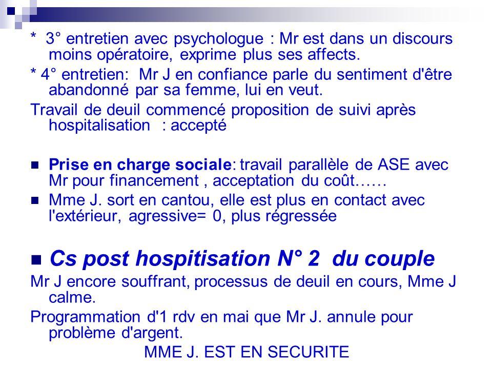 * 3° entretien avec psychologue : Mr est dans un discours moins opératoire, exprime plus ses affects.