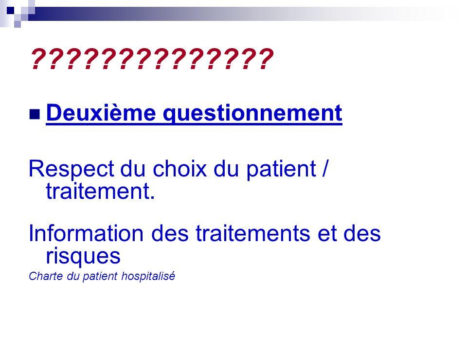 ?????????????. Deuxième questionnement Respect du choix du patient / traitement.