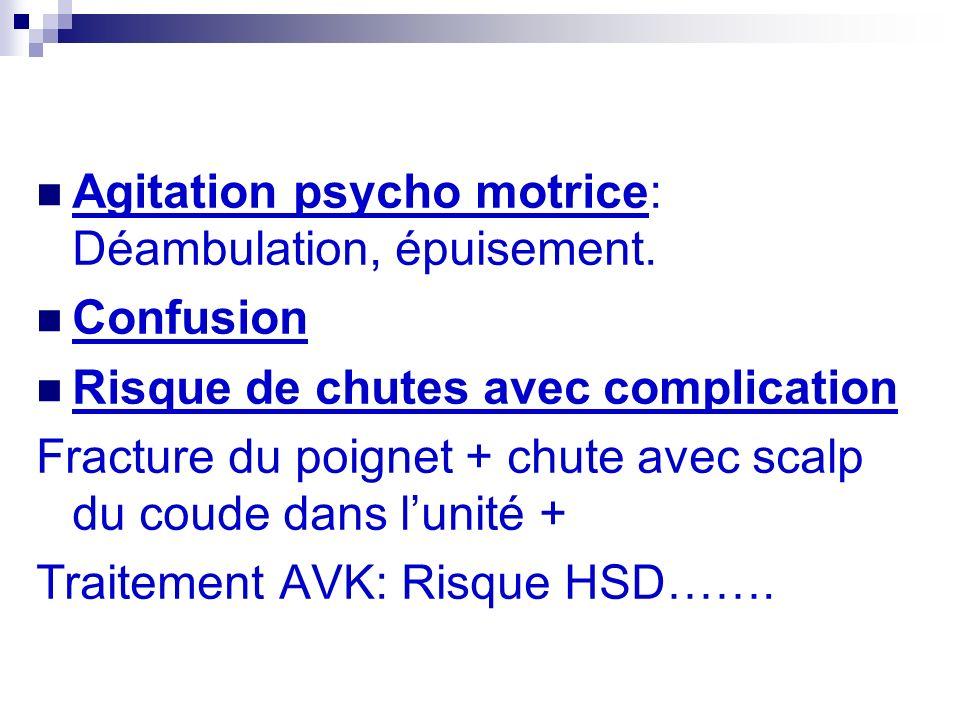 Agitation psycho motrice: Déambulation, épuisement.
