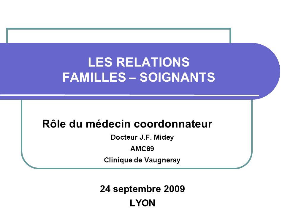 LES RELATIONS FAMILLES – SOIGNANTS Rôle du médecin coordonnateur Docteur J.F. Midey AMC69 Clinique de Vaugneray 24 septembre 2009 LYON