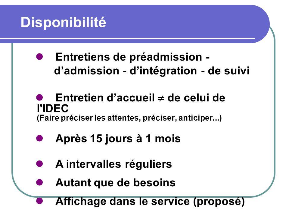 Disponibilité Entretiens de préadmission - dadmission - dintégration - de suivi Entretien daccueil de celui de l'IDEC (Faire préciser les attentes, pr