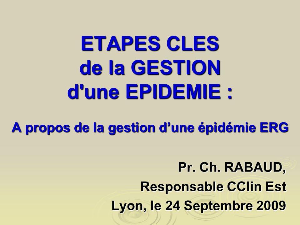 ETAPES CLES de la GESTION d'une EPIDEMIE : A propos de la gestion dune épidémie ERG Pr. Ch. RABAUD, Responsable CClin Est Lyon, le 24 Septembre 2009