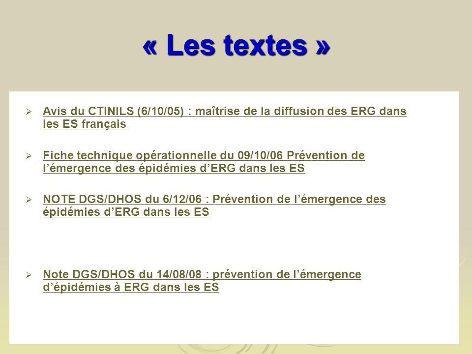 « Les textes » Avis du CTINILS (6/10/05) : maîtrise de la diffusion des ERG dans les ES français Avis du CTINILS (6/10/05) : maîtrise de la diffusion