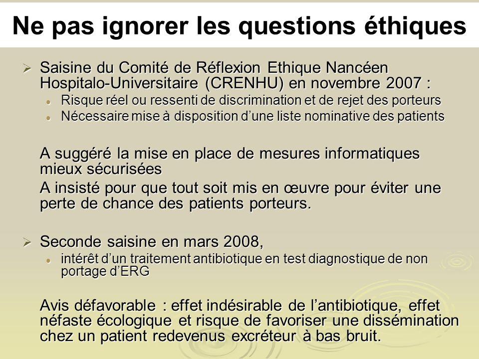 Ne pas ignorer les questions éthiques Saisine du Comité de Réflexion Ethique Nancéen Hospitalo-Universitaire (CRENHU) en novembre 2007 : Saisine du Co