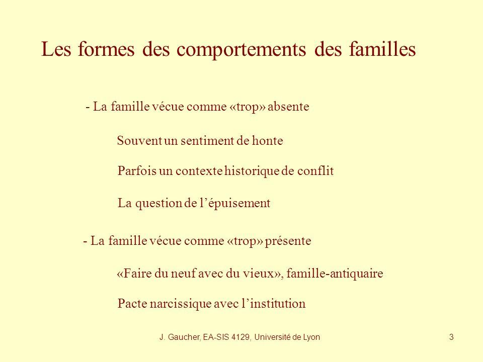 J. Gaucher, EA-SIS 4129, Université de Lyon 2 Une histoire à trois : richesse et complexité Patient Famille Personnels Des temporalités qui se conflic