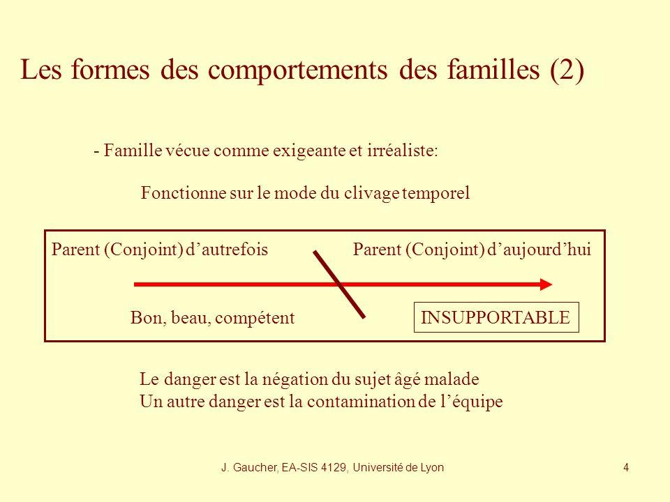 J. Gaucher, EA-SIS 4129, Université de Lyon 3 Les formes des comportements des familles - La famille vécue comme «trop» absente Souvent un sentiment d