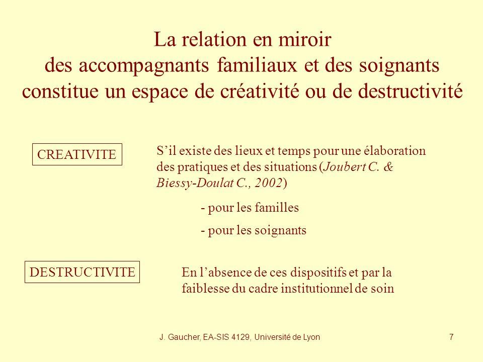 J. Gaucher, EA-SIS 4129, Université de Lyon 6 Entre complicité et conflictualité (Pluymaekers J., 1996) Accompagnant familial et soignant se renvoient
