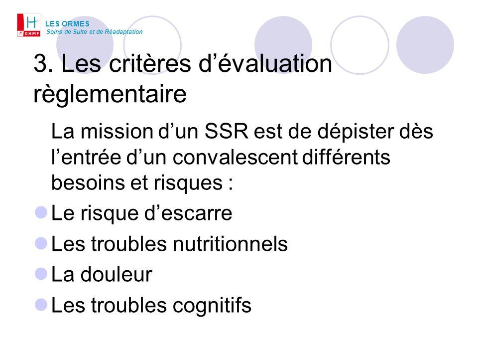 3. Les critères dévaluation règlementaire La mission dun SSR est de dépister dès lentrée dun convalescent différents besoins et risques : Le risque de