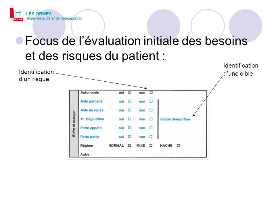 Focus de lévaluation initiale des besoins et des risques du patient : LES ORMES Soins de Suite et de Réadaptation Identification dune cible Identifica
