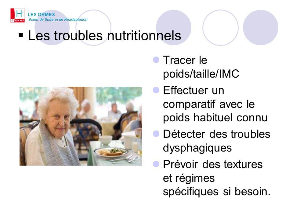 Les troubles nutritionnels Tracer le poids/taille/IMC Effectuer un comparatif avec le poids habituel connu Détecter des troubles dysphagiques Prévoir