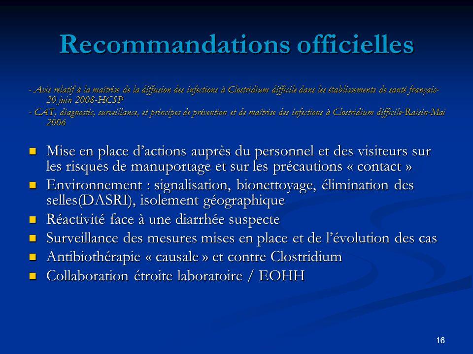 16 Recommandations officielles - Avis relatif à la maîtrise de la diffusion des infections à Clostridium difficile dans les établissements de santé fr