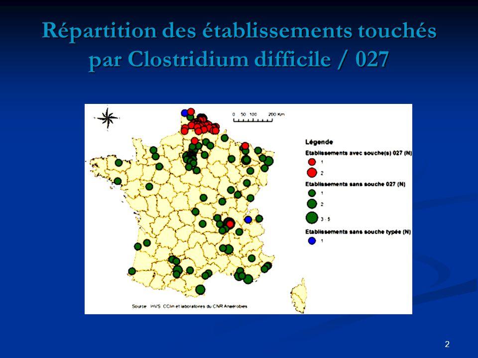 2 Répartition des établissements touchés par Clostridium difficile / 027