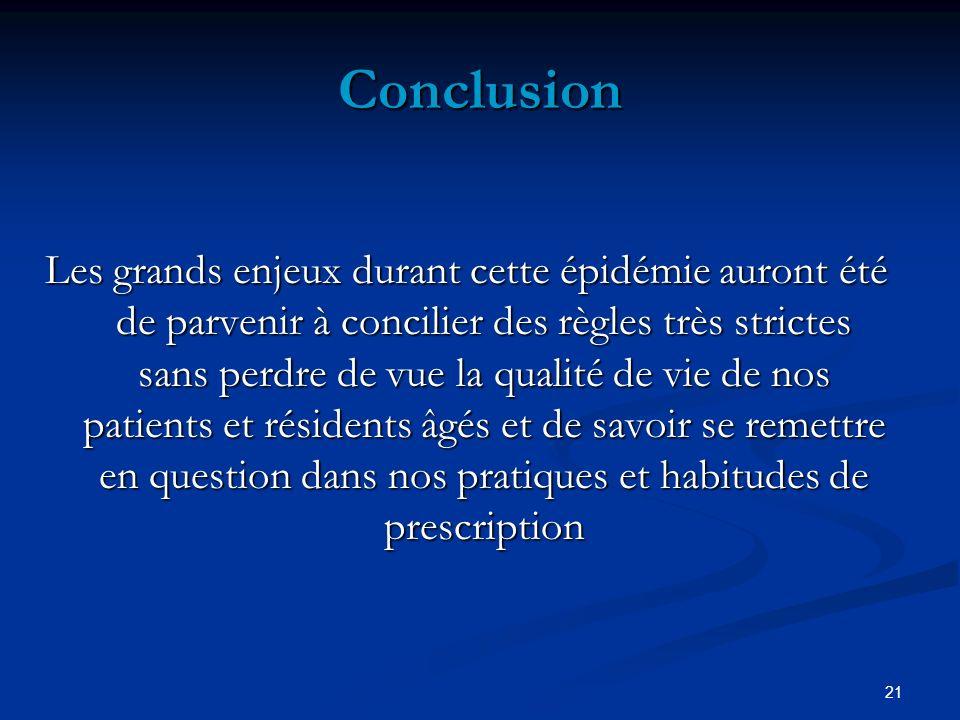 21 Conclusion Les grands enjeux durant cette épidémie auront été de parvenir à concilier des règles très strictes sans perdre de vue la qualité de vie