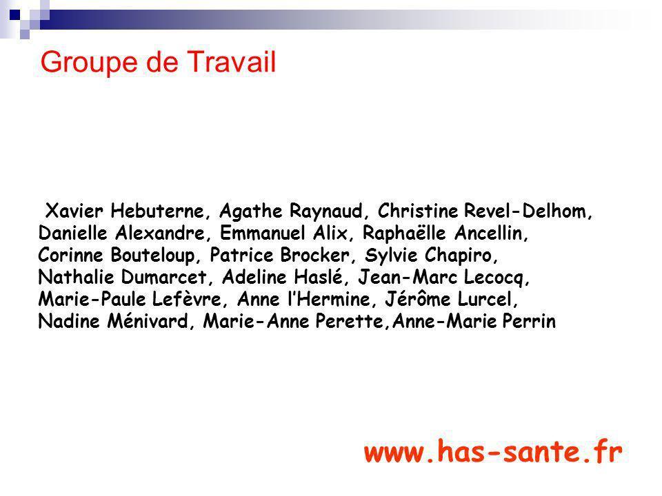 Groupe de Travail Xavier Hebuterne, Agathe Raynaud, Christine Revel-Delhom, Danielle Alexandre, Emmanuel Alix, Raphaëlle Ancellin, Corinne Bouteloup,