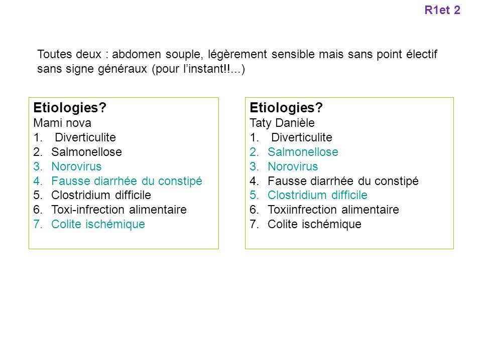 Etiologies? Mami nova 1. Diverticulite 2.Salmonellose 3.Norovirus 4.Fausse diarrhée du constipé 5.Clostridium difficile 6.Toxi-infrection alimentaire