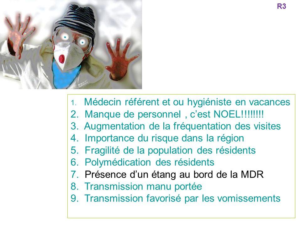 1. Médecin référent et ou hygiéniste en vacances 2. Manque de personnel, cest NOEL!!!!!!!! 3. Augmentation de la fréquentation des visites 4. Importan