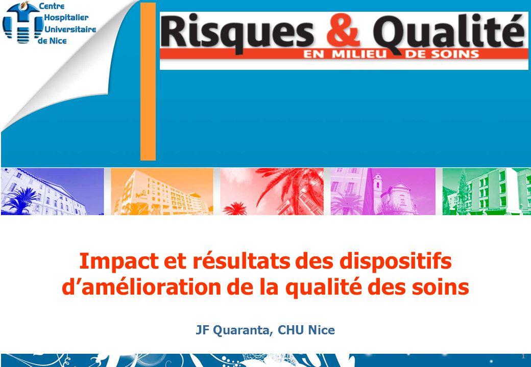 www.chu-nice.fr Impact et résultats des dispositifs damélioration de la qualité des soins JF Quaranta, CHU Nice 1