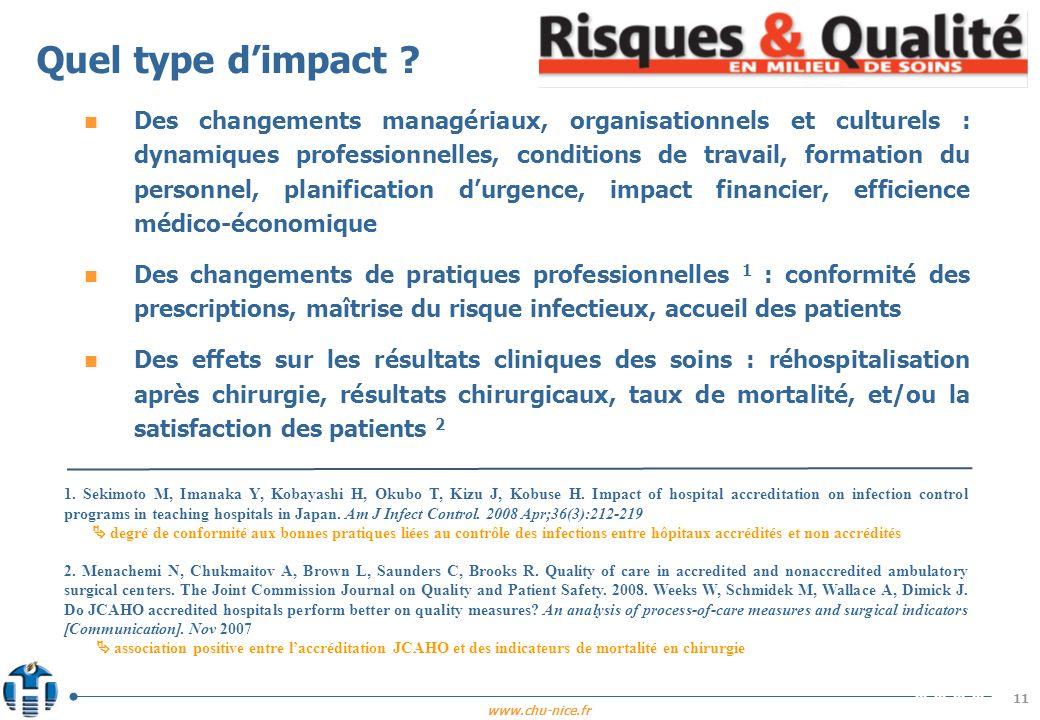 www.chu-nice.fr 11 Quel type dimpact ? n Des changements managériaux, organisationnels et culturels : dynamiques professionnelles, conditions de trava