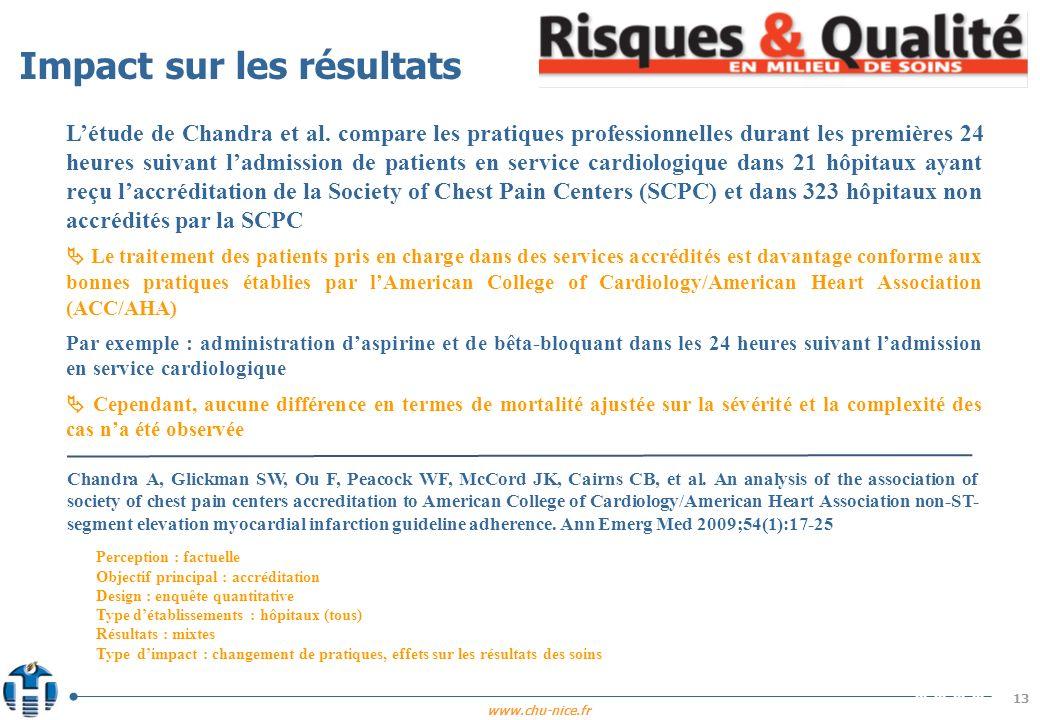 www.chu-nice.fr 13 Létude de Chandra et al. compare les pratiques professionnelles durant les premières 24 heures suivant ladmission de patients en se