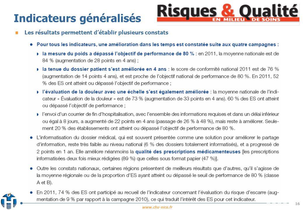 www.chu-nice.fr 16 Indicateurs généralisés n Les résultats permettent détablir plusieurs constats