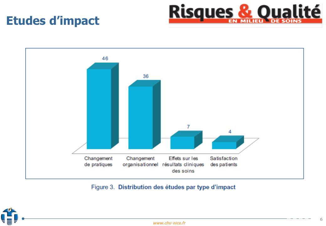 www.chu-nice.fr 7 n Les changements de pratiques professionnelles Létude de Sekimoto et al.