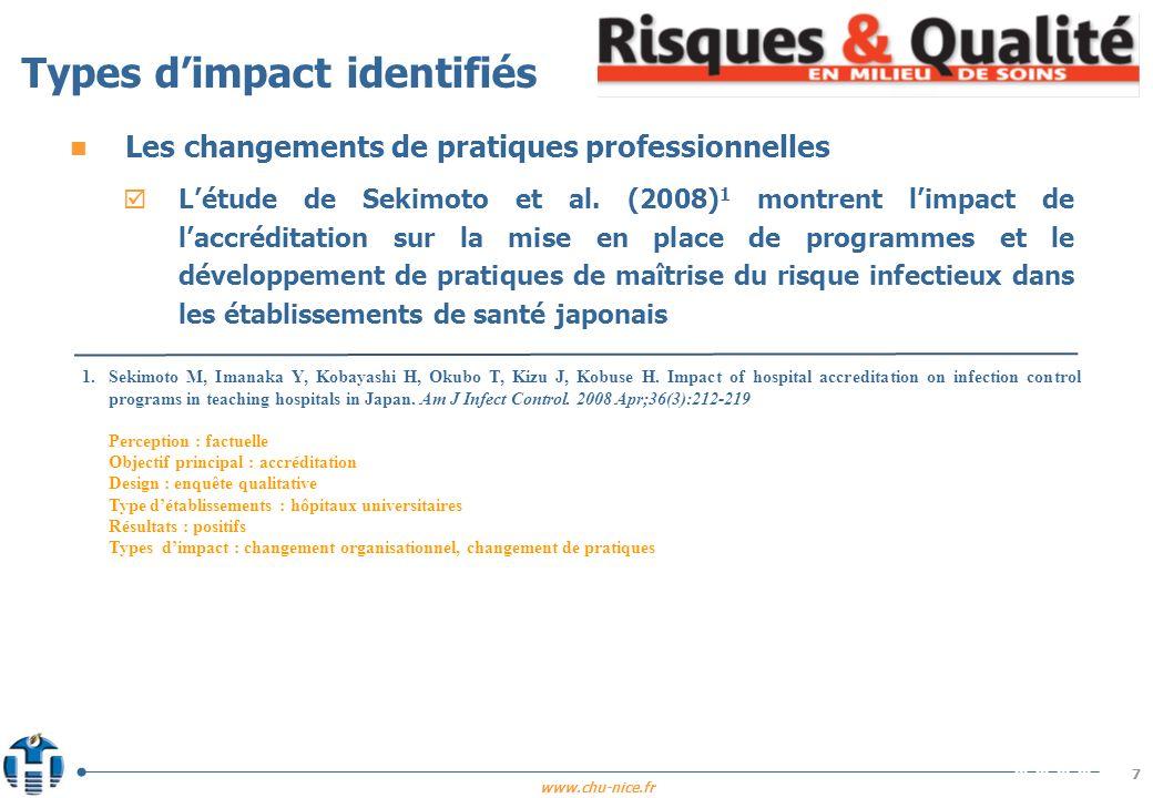 www.chu-nice.fr 8 n Les changements de pratiques professionnelles Létude de DAunno et al.