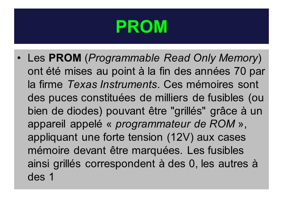 PROM Les PROM (Programmable Read Only Memory) ont été mises au point à la fin des années 70 par la firme Texas Instruments. Ces mémoires sont des puce
