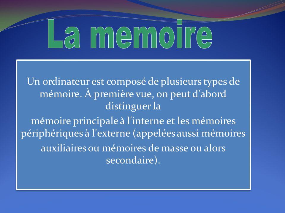 Les mémoires auxiliaires sont des mémoires de grande capacité qui permettent de stocker les informations pour une plus longue période que ne le fait la mémoire principale de capacité plus limitée.