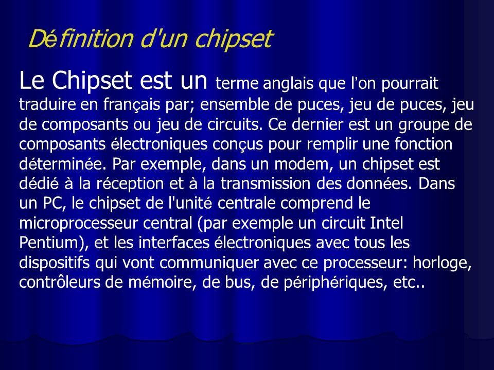 D é finition d'un chipset Le Chipset est un terme anglais que l on pourrait traduire en fran ç ais par; ensemble de puces, jeu de puces, jeu de compos