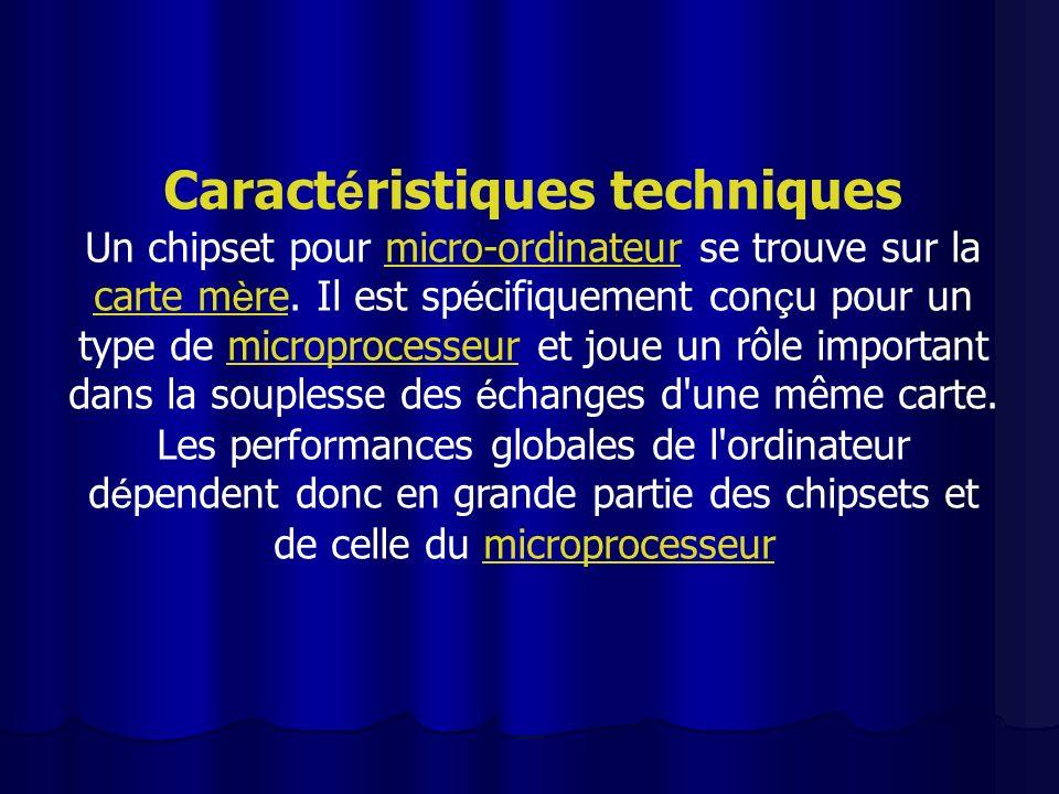 Caract é ristiques techniques Un chipset pour micro-ordinateur se trouve sur la carte m è re. Il est sp é cifiquement con ç u pour un type de micropro