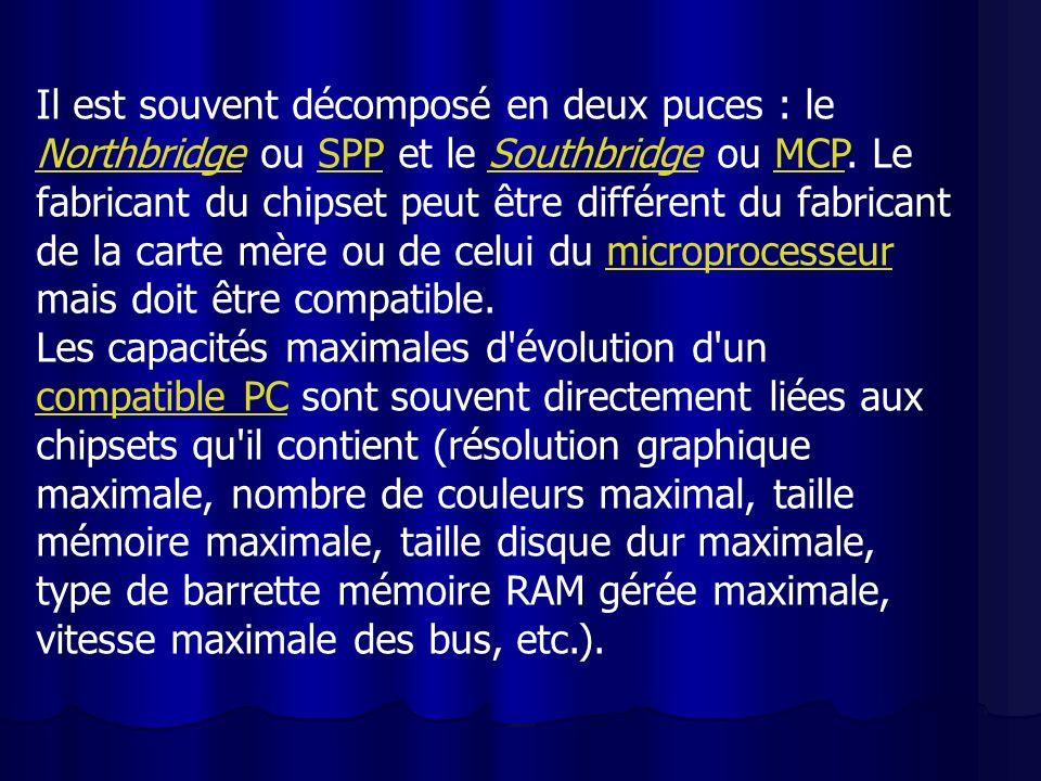 Il est souvent décomposé en deux puces : le Northbridge ou SPP et le Southbridge ou MCP. Le fabricant du chipset peut être différent du fabricant de l