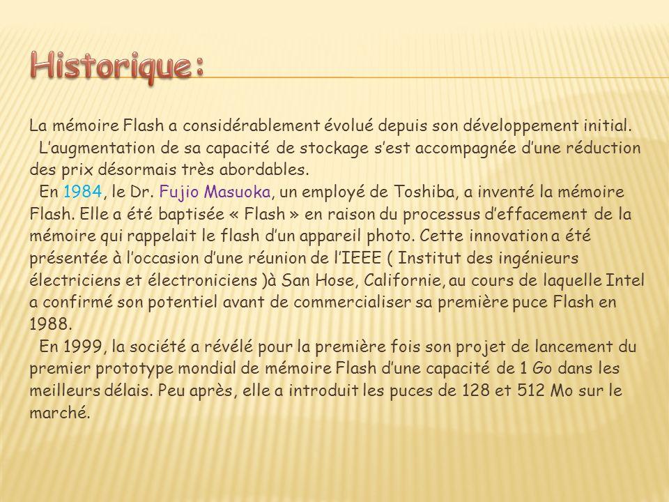 La mémoire Flash a considérablement évolué depuis son développement initial.
