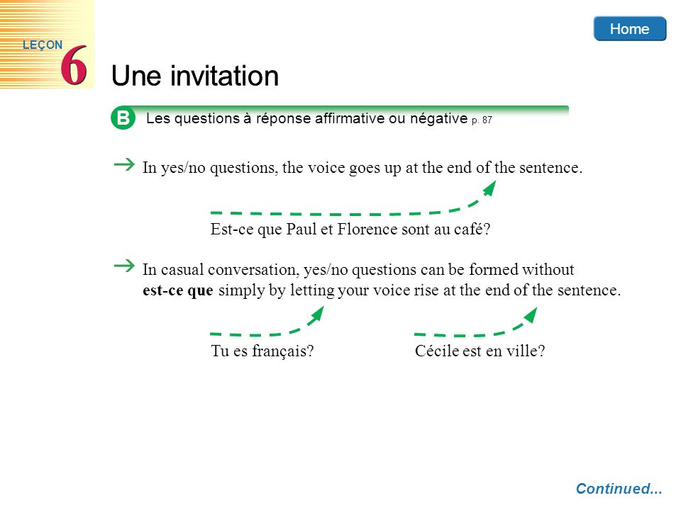 Home Une invitation 6 6 LEÇON In yes/no questions, the voice goes up at the end of the sentence. Est-ce que Paul et Florence sont au café? In casual c