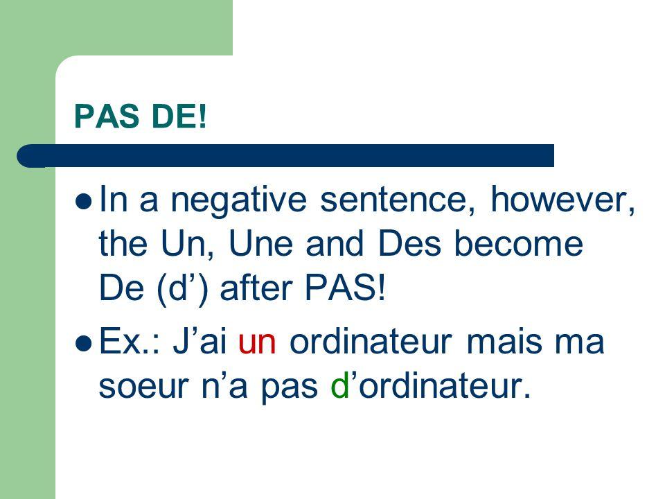 Other things to note: Before H: Le/La becomes L: Lherbe, lheure Les stays Les: Les herbes, les heures Un/Une/Des does NOT change: Un habitant, Une histoire, Des haricots verts