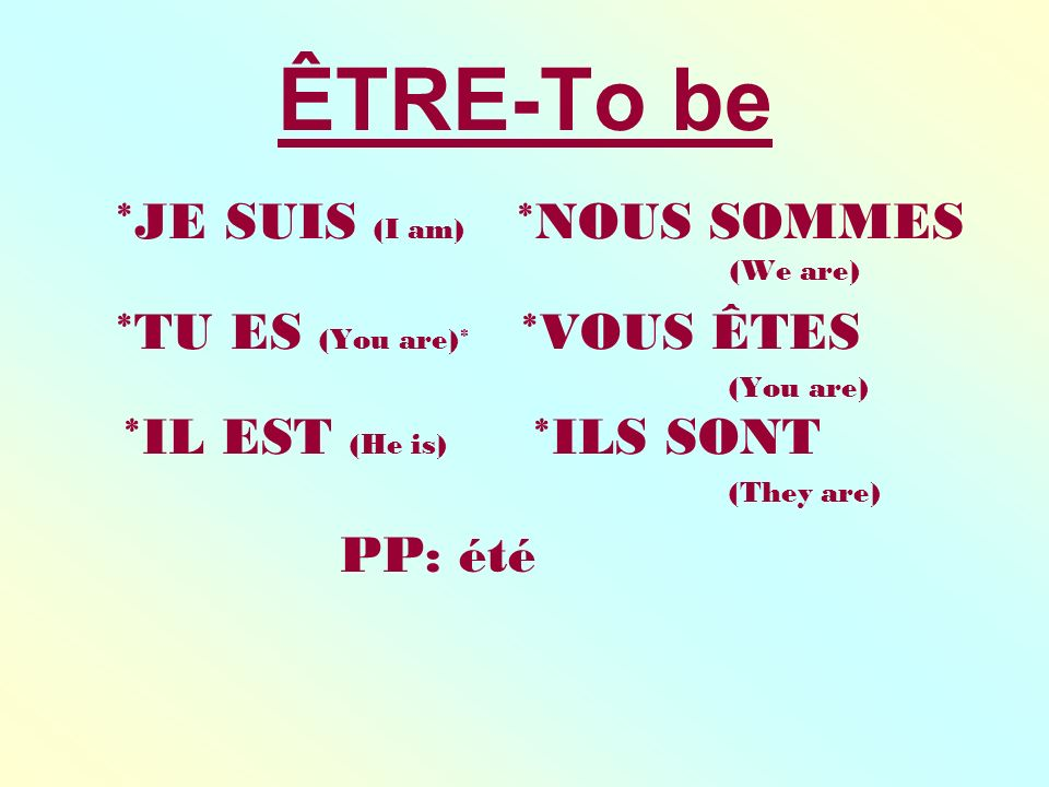 ÊTRE-To be *JE SUIS (I am) *NOUS SOMMES (We are) *TU ES (You are)* *VOUS ÊTES (You are) *IL EST (He is) *ILS SONT (They are) PP: été
